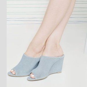 SEYCHELLES perforated suede wedge mules